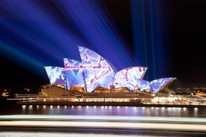 luminous sydney opera house