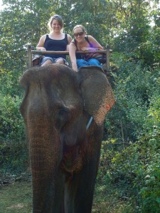 Girls Riding Elephant